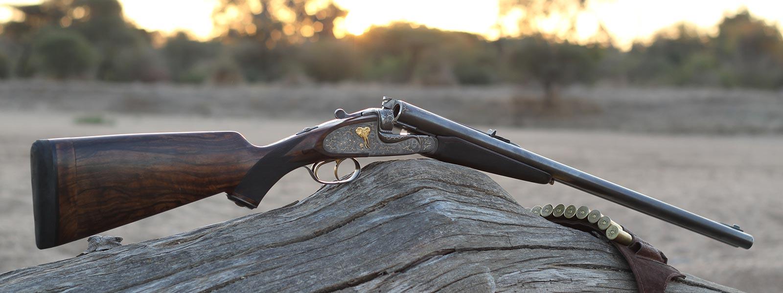 Dale Desfountain's gun in the African bush